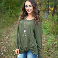 Olive Twisted Knot Top