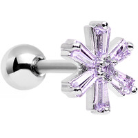 "16 Gauge 1/4"" Lavender CZ Steel Snowflake Tragus Cartilage Earring 