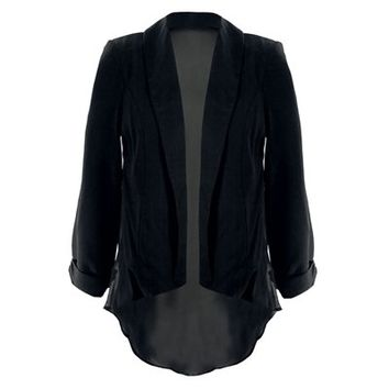 Womens Plus Size Blazer Sheer Back Tuxedo Blazer