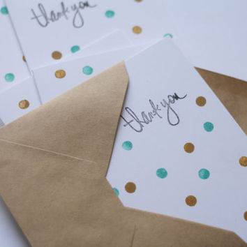 Thank You Cards - Gold & Teal Polka Dots