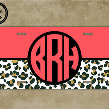 Cute Monogrammed license plate - Cheetah animal print pattern with dark coral - Preppy Monogram cute car tag (9965)