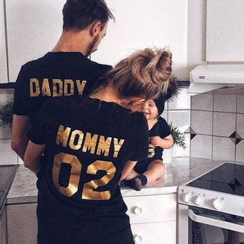 """Daddy, Mommy, Kid, Baby"" Family Matching Casual T-Shirt's"
