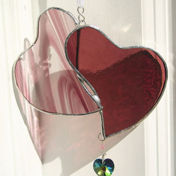 Stained Glass Heart Doublet Wine & Magenta by GaleazGlass on Etsy