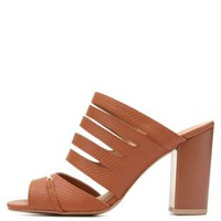 Qupid Strappy Block Heel Sandals by