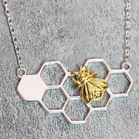 Honey Bee Necklace, Sterling Silver HoneyBee Charm Necklace,honeycomb necklace,hexagon necklace,HoneyBee jewelry,gifts for her