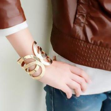 Simple Hollow Out Wide Cuff Bracelets Costume Jewelry