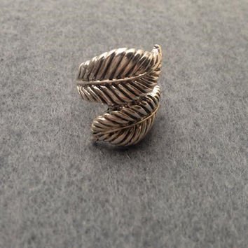 Sterling Silver Leaf Ring, Palm Leaf Ring, Wrap Ring, Boho Ring, Silver Jewellery, Statement Ring