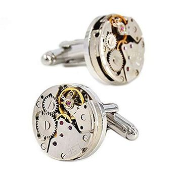 Cufflinks Steampunk Watch Mens Shirt Vintage Watch Cuff Links Business Wedding Gifts with Gift Box: Clothing