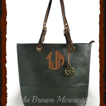 Monogrammed Black Handbag - Personalized Shopper - Large Tote Bag - Unique Monogrammed Gift - Faux Leather Shoulder Bag
