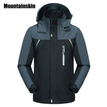 Mountainskin Spring Jackets Men's Coats 4XL Casual Hooded Mens Windbreaker Windproof Waterproof Brand Male Jackets SA200