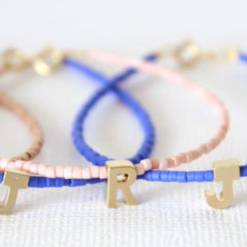 Tiny gold letter bracelet - Personalized Friendship Bracelet - Tiny and Delicate Initial-Letter Bracelet - Monogram Bracelet - Name bracelet