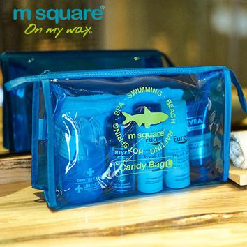 M Square Beautician Transparent Travel Cosmetic Bag For Make Up Organizer Wash Toiletry Bag Candy Color Women Makeup Hand Clutch