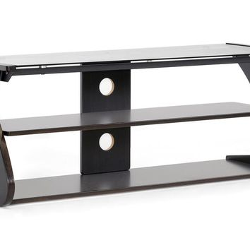 Baxton Studio Sculpten Dark Brown and Black Modern TV Stand with Glass Shelves Set of 1