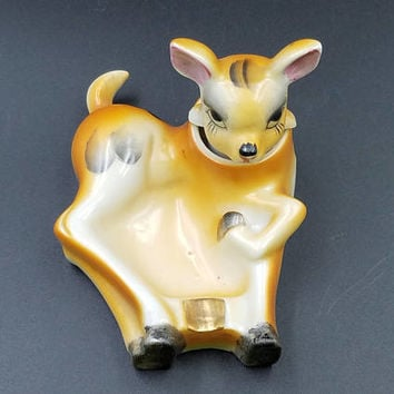 Vintage Nodder Deer Ashtray ~ Patent TT ~ 1940's