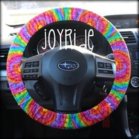 Steering Wheel Cover Tye Dye Rainbow- Sunburst Car Accessories Hippie Tie Dye Bohemian Matching Keychain Wristlet option