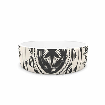 "Famenxt ""Boho Tribe Mandala"" Beige Black Pet Bowl"