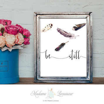 be still Feather printable art Watercolor Feathers Art Print Wall Art Home Decor Modern Art Poster Zen Art Print