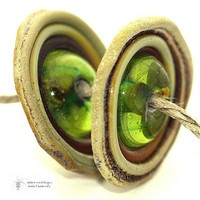 lampwork beads Antiquities Olive and Raku Organic Orbit Disks handmade
