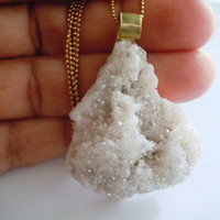 Crystal Druzy Necklace - Raw Stone Necklace - Opal Aura Raw Crystal - Mineral Jewelry
