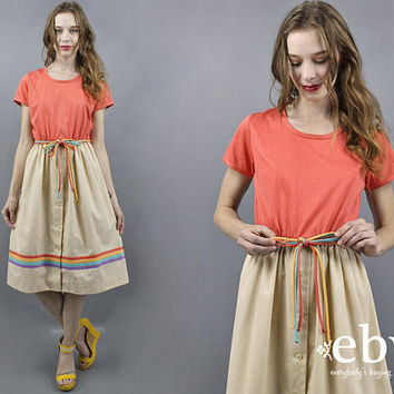 Rainbow Dress 1970s Dress 70s Dress Striped Dress Day Dress Salmon Dress Summer Dress Midi Dress Casual Dress TShirt Dress Colorful Dress M