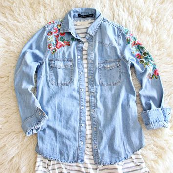 Lucky Embroidered Denim Top