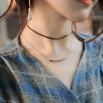 Fashion wax rope bend pipe double layer choker necklace XR-C1380