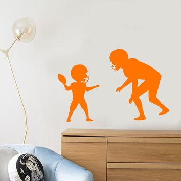 Vinyl Wall Decal American Football Sport Player Father And Son Stickers (2802ig)
