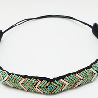 girls women vintage bohemian ethnic tribal colored seed beads braided handmade headband hairband hair accessories