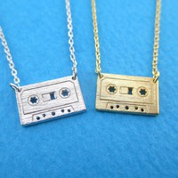 Cassette Mixed Tape Retro Friendship Pendant Necklace in Gold or Silver