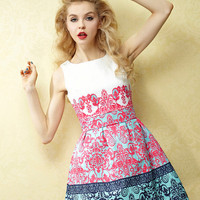 Harajuku Vintage Stylish Flowers Printing Collect Waist Flouncing Dress - S M L XL from Tobi's Finds
