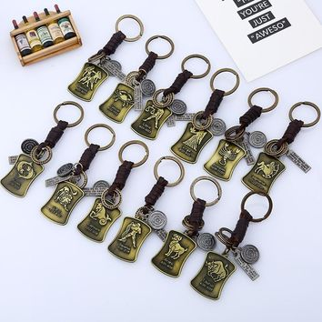 12 Constellations Jewellery Vintage Bronze Tag Jewelry Leather Keychain Men Casual Personality Zodiac Signs Punk Key Chains