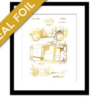 Military Vehicle Patent Illustration - Gold Foil Print - Car Poster - Car Lovers Gift - Car Art Print - Army Poster - Army Soldier Gift