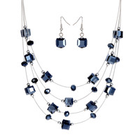 2pcs Silver Color Silver Plated Necklace Earrings For Women Jewelry Set Women's Wedding Jewelry Sets Royal Blue Crystal Hot