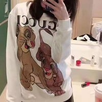 """Gucci"" Woman Leisure Fashion Letter  Personality  Printing Loose Long Sleeve Tops Skirt"