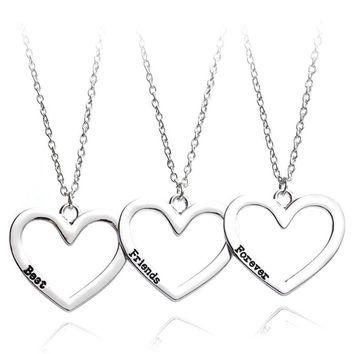 New Necklace Heart Pendant 3 Pieces Broken Three Best Friend Forever Necklace Women Necklace Jewelry Collares Mujer