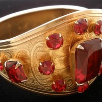 Vintage Red Rhinestone Bangle Bracelet Hinged Victorian Revival Gold Christmas