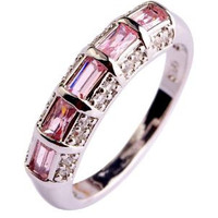Stunning Pink Topaz Channel Set into a Silver Band