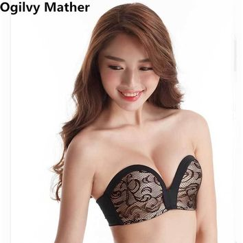 Sexy Lace Fly Bra Women Invisible Bra Push Up Non-slip Strapless Finger Shape Bras For Women Seamless Bralette Women's Underwear