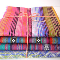 Tribal Fabric, Latin American Woven Fabric Bundle, Sample Pack, 4 Large Pieces