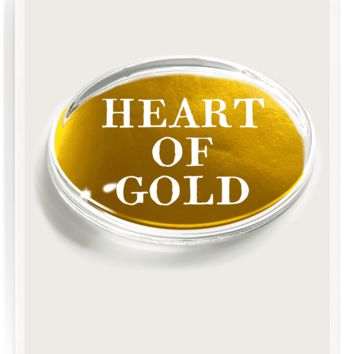 """""""Heart Of Gold"""" Gold Foil Crystal Oval Paperweight"""