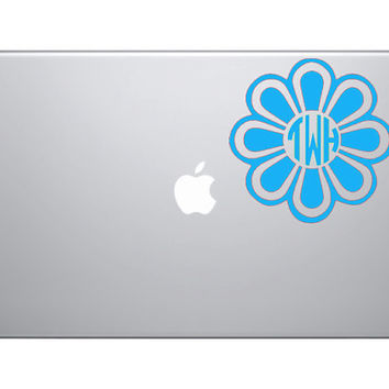 5 Monogrammed Flower Decal great for Cars Ipads by OwlOutfitters
