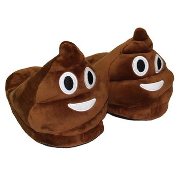 Funny Unisex Winter Mens Plush Slippers Indoor Emoji House Shoes Women Warm Creative E