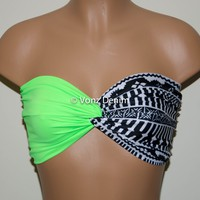 Neon Green and Aztec Tribal Bandeau Top, Swimwear Bikini Top, Twisted Top Bathing Suits, Spandex Bandeau Bikini
