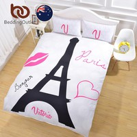 BeddingOutlet Black Eiffel Tower Bedding Set Super Soft Duvet Cover with Pillowcases White Background Quilt Cover AU Single
