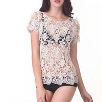 Hollow Out Lace Beach Cover up 11723