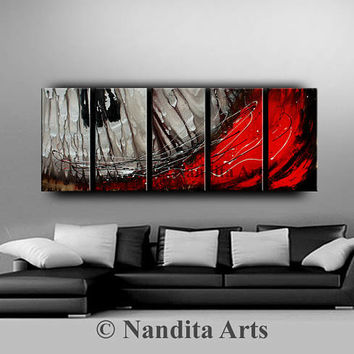 Large ABSTRACT MODERN PAINTING Original art Contemporary Art Daily Painting red and grey art Canvas Art artwork Decor Art artist Nandita