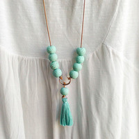 Turquoise Mint Tassel Necklace, Beaded Leather Necklace, Long Boho Necklace, Hippie chic Necklace, Bohemian Jewelry, Necklace Trend 2016
