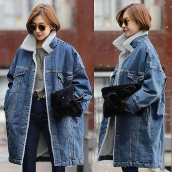 Trendy Female Jacket Winter Warm Denim Coat Women vintage 2018 New Winter Denim Jacket Women Fur lining Thicken Warm Women long Jacket AT_94_13
