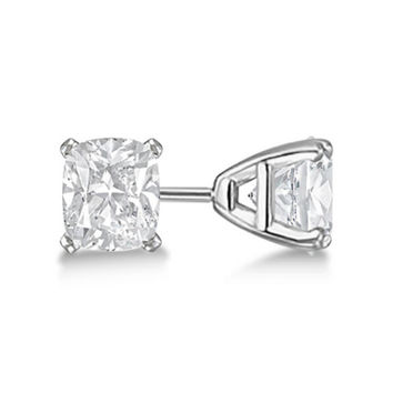 Platinum Over Sterling Silver 1 Ct Princess White Cz Stud Earrings