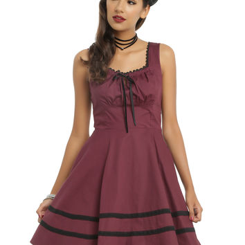 Burgundy & Black Fit & Flare Dress